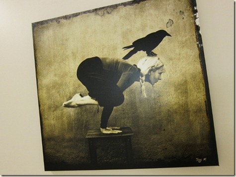 crow with buzz on the wall at dancing crow yoga (love that name!)